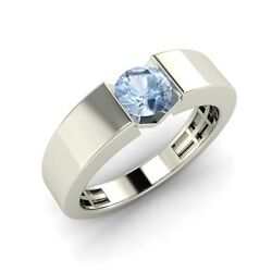 Certified Solitaire Menand039s Wedding Band Ring 0.35 Ctw Aquamarine 14k Gold