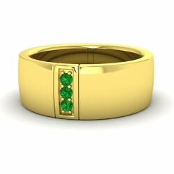 Three Stone Wide 0.11ct Emerald 14k Yellow Gold Menand039s Engagement / Wedding Band