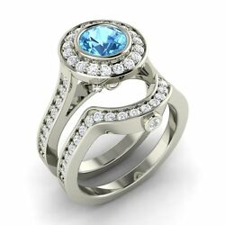 Certified 2.02 Ct Blue Topaz And Diamond 14k White Gold Engagement Bridal Ring Set
