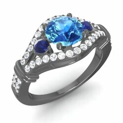 Certified 1.66 Ct Blue Topaz Sapphire And Diamond 14k Black Gold Engagement Ring