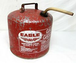 Vintage Eagle Gas Can 5 Gal Galvanized Metal Gasoline Sp5 Vent Screened Spout