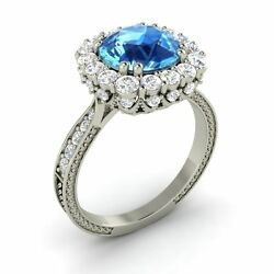 2.91 Ct Certified Blue Topaz And Gh/si Diamond 14k White Gold Halo Engagement Ring