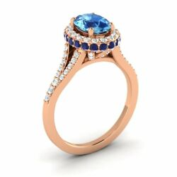 14k Rose Gold 2.11ct Blue Topaz Sapphire Diamond Halo Solitaire Engagement Ring