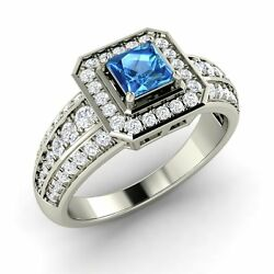 Certified 1.18 Ct Princess Blue Topaz And Diamond 14k White Gold Engagement Ring
