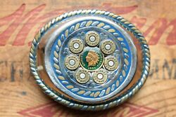 Vtg Stainless Steel Hand Made 357 Mag Gun Shells Indian Chief Penny Belt Buckle