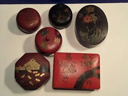 Antique Japanese Lacquer Box Collection Lot Of 6 Handpainted