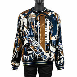Dolce And Gabbana Runway Music Sequins Embroidery Sweater Sweatshirt 52 L Xl 07653