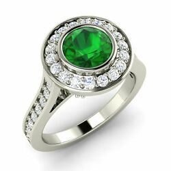 Certified 1.70 Ctw Real Emerald And Diamond 14k Solid White Gold Engagement Ring