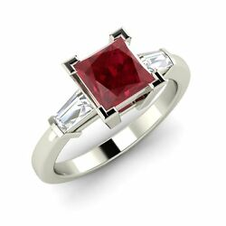 Certified 0.85 Ct Princess Cut Ruby And Vs Diamond 14k White Gold Engagement Ring