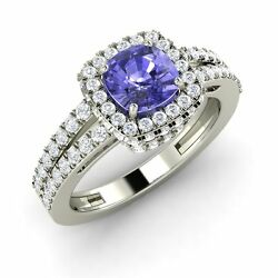 Certified Cushion Cut Tanzanite And Si Diamond 14k White Gold Halo Engagement Ring