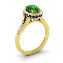 10k Yellow Gold 1.81ctw Emerald Sapphire Diamond Halo Solitaire Engagement Ring