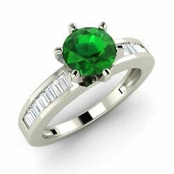 1.02 Cts Certified Emerald And Natural Vs Diamond 14k White Gold Engagement Ring