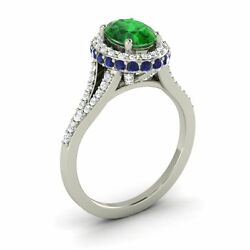 10k White Gold 1.81ctw Emerald Sapphire Diamond Halo Solitaire Engagement Ring