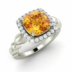 Certified 3.08 Carat Natural Citrine And Diamond 14k White Gold Engagement Ring