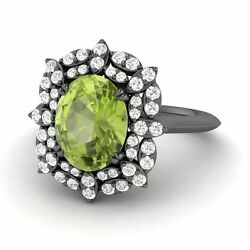 Certified 2.16 Cts Peridot And Diamond Engagement Wedding Ring In 14k Black Gold