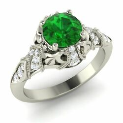 Certified 1.28 Ct Emerald And Diamond 14k White Gold Vintage Engagement Ring