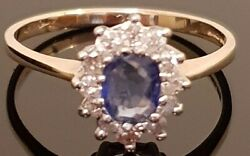 Solid 375 9ct Gold Oval Cut Cornflower Blue Sapphire And Diamond Ring Sz P 254