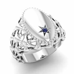 Certified 0.01 Ct Natural Round Blue Sapphire Signet Mens Ring In 14k White Gold