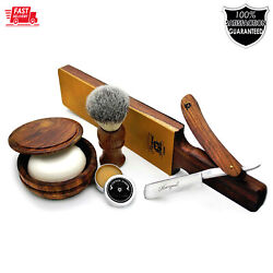 6 Pieces Vintage Straight Cutthroat Mens Shaving Grooming Kit Set Pure Wood Made