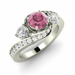 Certified Pink Tourmaline And Diamond 14k White Gold Past Present Future Ring