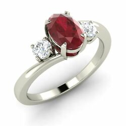 Certified Ruby And Diamond Engagement Ring 3-stone Oval Shape 14k White Gold