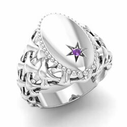 Certified 0.01 Ct Natural Round Amethyst Signet Menand039s Ring In 14k White Gold