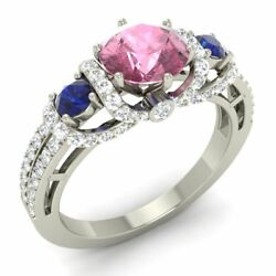 Certified 1.89 Ct Pink Tourmaline, Blue Sapphire And Diamond 14k White Gold Ring
