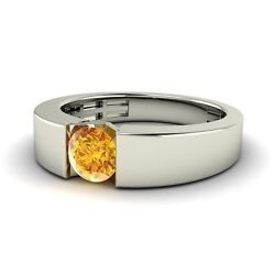 Certified Solitaire 0.35 Ct Citrine 14k White Gold Menand039s Wedding Band Ring