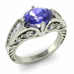 Certified Oval-cut Tanzanite And Real Si Diamond 14k White Gold Art Deco Look Ring