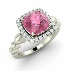 Certified 3.3 Carats Natural Tourmaline And Diamond 14k White Gold Engagement Ring