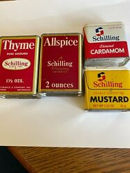 4vintage Schilling And Co. Spice Tins Thyme, Allspice,cardamom And Mustard