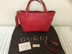 Gucci Made in Italy Leather Red Soho Top Handle Bag w Cross Body Strap  $1,299.00