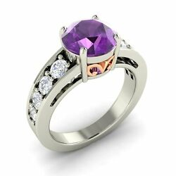 Certified 2.33 Cts Real Amethyst And Si Diamond Vintage Look 14k White Gold Ring