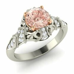 Certified 1.32 Ct Morganite And Diamond 14k White Gold Vintage Engagement Ring
