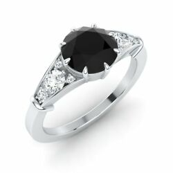 Queen Elizabeth Inspired Certified 1.52 Ct Black And White Diamond 14k Gold Ring
