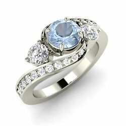 Certified 1.25 Cts Aquamarine And Diamond 14k Gold Past Present Future Ring