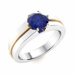 Certified 1.3ct Real Round Blue Sapphire Solitaire Menand039s Ring 14k White Gold