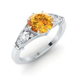 Queen Elizabeth Inspired Certified 1.47 Ct Citrine And Diamond 14k White Gold Ring