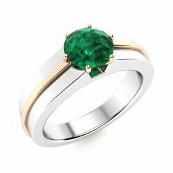 Certified 1.0 Ct Natural Round Emerald Solitaire Menand039s Ring 14k White Gold