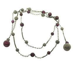925 Sterling Silver Pave Diamond Ruby Bead Ball Lariat Chain Necklace Jewelry