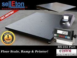 New 48 X 72 4and039 X 6and039 Heavy Duty Floor Scale With Ramp And Printer 5000 X 1 Lb