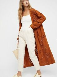 Free People Suede Duster Coat Rust Brown Mallorca Laser Cut Paisley S New 498