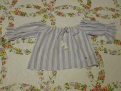 Womens Off Shoulder GUESS Crop Top Blouse Size Medium M Bell Sleeves 100% Cotton $12.99