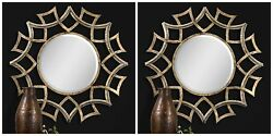 Pair Demarco 40 Round Forged Metal Antique Gold Bevel Wall Art Mirrors Vanity