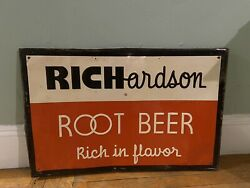 EARLY ROOT BEER advertising RICHARDSON vintage Collectible Embossed SIGN 34x23