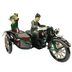 Soldier Motorcycle Trailer Tin Toy Vintage Collectible Clockwork Toy Decor Gift