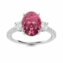 3 Stone 1.4 Carat Oval Tourmaline And Si/gh Diamond Engagement Ring 14k White Gold