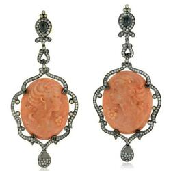 Natural Diamond Cameo Earrings 18k Gold 925 Silver Vintage Jewelry