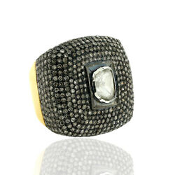 Natural Uncut Diamond 14k Gold 925 Sterling Silver Vintage Pave Ring Jewelry