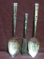 Silverplate Community 3 Piece Serving 2 Spoons 8 1/2 1 Master B Morning Star Nm